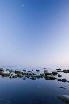 Free Baltic Seaside After Sunset With Moon Stock Images - 9735584