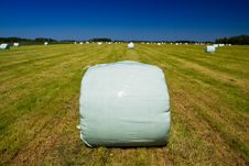 Free Countryside Meadow With Hay Bale Royalty Free Stock Images - 9736349