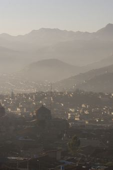 Cuzco On A Misty Morning Stock Photo