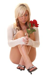 Free Woman Sitting On Floor. Royalty Free Stock Images - 9739539