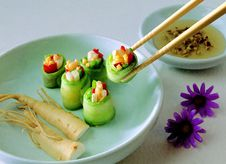Free Vegetable Covered With Food Wrapper On Green Bowl With Chopstick Beside Purple Flower Stock Images - 97312934