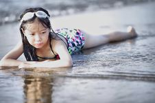 Free Selective Color Photography Of Girl Lying On Beach Royalty Free Stock Photography - 97313257