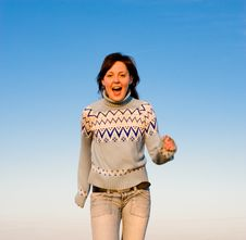 Free Happy Young Woman Running Stock Photo - 9741870