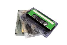 Three Compact Cassette Isolated On White Royalty Free Stock Images