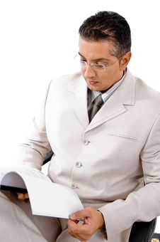 Top View Of Businessman Looking In To File Stock Photos