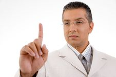 Free Smiling Businessman Looking His Finger Royalty Free Stock Images - 9742809