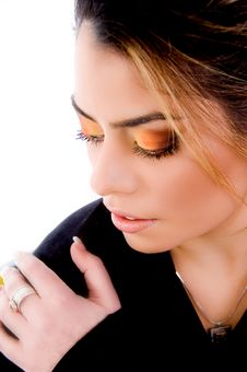 Top View Of Young Female S Eye Shadow Royalty Free Stock Photography