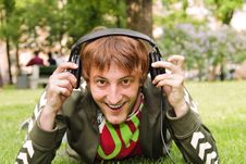 Free Young Man Wifh Headphones Royalty Free Stock Images - 9743779