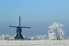 An Windmil In The Winterl Stock Photos