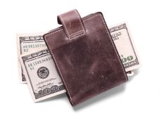 Free Leather Wallet With Money Royalty Free Stock Image - 9744036