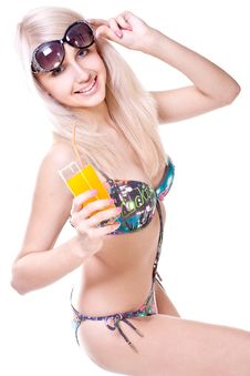 Free Beautiful Women In Swimsuit With A Glass Of Juice Stock Images - 9744364