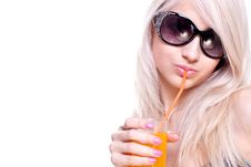 Free Beautiful Women In Swimsuit With A Glass Of Juice Royalty Free Stock Images - 9744459