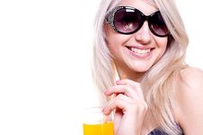 Free Beautiful Women In Swimsuit With A Glass Of Juice Stock Photo - 9744480