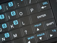 Free Smart Phone QWERTY Keypad Enter Angle Close Up.jpg Stock Image - 9744621