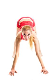 Free Blond Girl Doing Gymnastic Exercises Royalty Free Stock Photos - 9745248