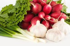 Free Spring Onions, Garlic, Lettuce And Radish Royalty Free Stock Photos - 9745278