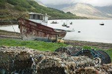 Creels On Shore At Lake Slapin Royalty Free Stock Images