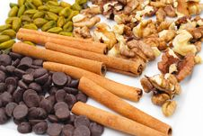 Free Nuts And Chocolate Plate Royalty Free Stock Photography - 9746617