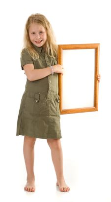 Free The Girl With A Frame Royalty Free Stock Photo - 9746645