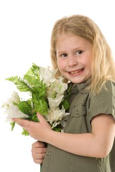 The Girl With A Flowers Stock Photo