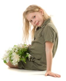 Free The Girl With A Flowers Stock Photo - 9746700