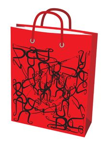 Free Red Paper Bag For Shopping Royalty Free Stock Photos - 9748778