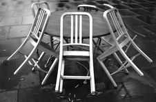 Free Cafe Chairs On A Rainy Day Royalty Free Stock Photos - 9749028
