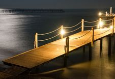 Night Pier Stock Images