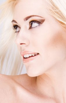 Close-up Of Beautiful Face With Long Hair Stock Photography