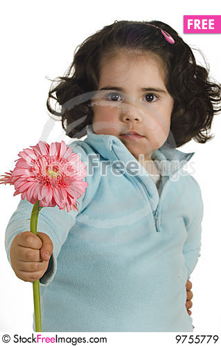 Free Cute Little Girl With Flower Royalty Free Stock Images - 9755779