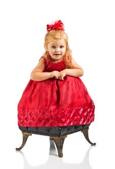 Free Cute Girl In Red Dress Royalty Free Stock Photo - 9750415