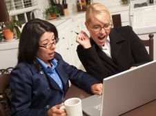 Free Businesswomen Celebrate Success On The Laptop Stock Images - 9752554
