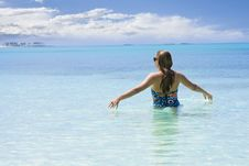 Woman Playing In The Ocean Royalty Free Stock Images
