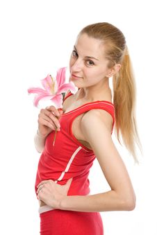 Free Nice Girl With A Pink Lily Stock Photo - 9754200