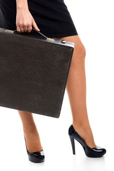 Free Woman And Attache Case Stock Image - 9754341