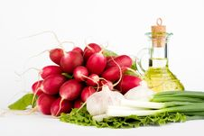 Green Vegetables And  Bottle Of Oil Stock Photo