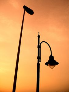 Free Streetlamp In The Orange Sky Stock Photos - 9754573