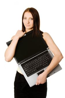 Free Woman With Black Laptop Royalty Free Stock Photo - 9754695