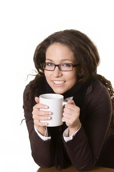 Smiling Young Beautiful Girl With A Cup In Her Han Stock Images