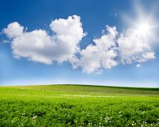 Free Blue Sky And Green Field Stock Photo - 9755640
