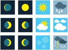 Free Weather. Icons Royalty Free Stock Photography - 9755717