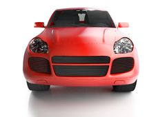 Free Front View Of Red Crossover Royalty Free Stock Photos - 9755968