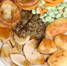 Free Roast Pork Dinner With Gravy Royalty Free Stock Image - 9756056