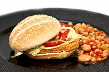 Free Chicken Burger With Bean Sallad Stock Photography - 9756562