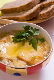 Cheese Soup With Croutons Stock Image