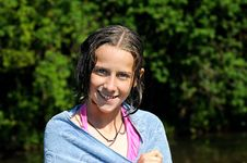 Free Girl Smiling After A Swim Royalty Free Stock Photography - 9757907
