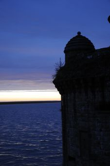 Shadow Shape Of Old Castle After Sunset Stock Photography