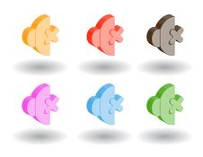 Free Color 3d Web Icons. Vector Illustration Royalty Free Stock Photos - 9758808