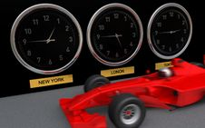 Free Clocks Showing 3 Cities Times Next To Fast F1 Car Royalty Free Stock Photo - 9759305