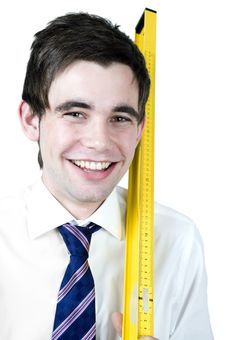 Free Man With Ruler Stock Photo - 9759840